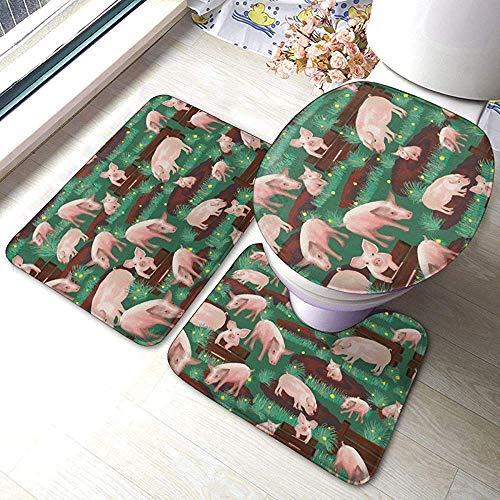 N \ A Pigs in Farm 3 Piece Bathroom Anti-Skid Pads