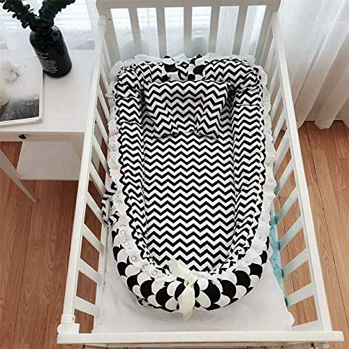 Abreeze Baby Nest Baby Bassinet for Bed -Grey Clouds Baby Lounger - Breathable & Hypoallergenic Co-Sleeping Baby Bed - 100% Cotton Portable Crib for Bedroom/Travel