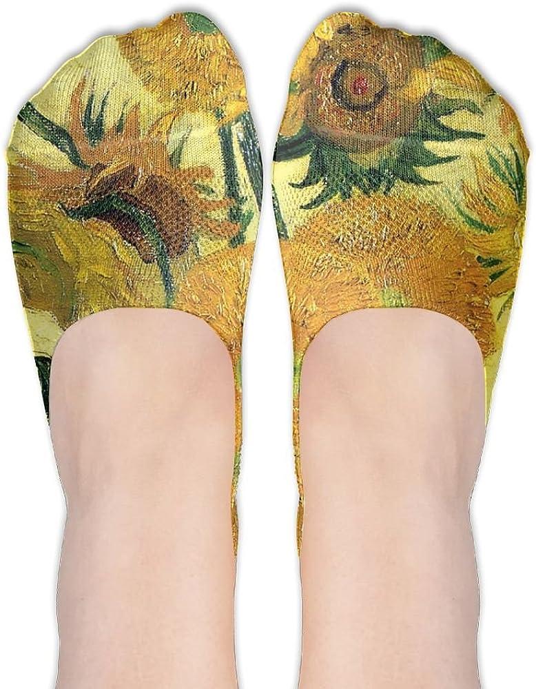 YISHOW Van Gogh Sunflowers No-Show Socks Casual Anti Slip Low Cut Crew Boat Sock Hidden Flat Line