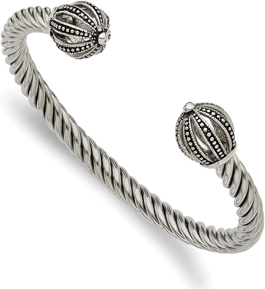 Stainless Steel Antiqued-Style Twisted Cuff Bracelet (6mm)
