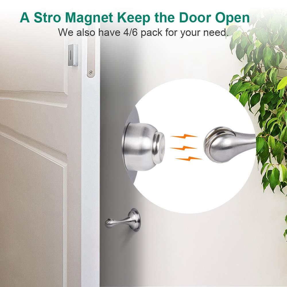 Door Stopper 4 Pack Magnetic Door Stops Door Catch Stainless Steel 4 Pack for Wide Doors Keep Your Door Open No Need to Drill 3M Double-Sided Adhesive Tape