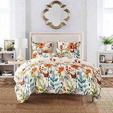 Leadtimes Flower Duvet Cover Set, Floral White Boho Hotel Bedding Sets with Soft Lightweight Microfiber 1 Duvet Cover and 2 Pillow Shams (King, Style2)