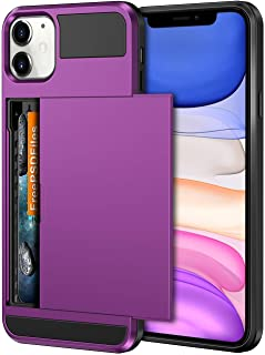 Vofolen Case for iPhone 11 Case Wallet Credit Card Holder ID Slot Sliding Door Hidden Pocket Anti-Scratch Dual Layer Hybrid Bumper Armor Protective Hard Shell Back Cover for iPhone 11 6.1in Purple