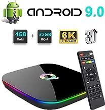 Q Plus Android 9.0 TV Box, Android TV Box 4GB RAM 32GB ROM H6 Quadcore cortex-A53 Support 3D 6K Ultra HD H.265 2.4GHz WiFi USB 3.0 Smart TV Box