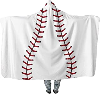 ONGLYP Baseball Design Oversized Blanket Thick Sherpa Shawl Wrap Warm Cloak Cape Hooded Pashmina for Adult and Kids (Baseball, Adult Size)