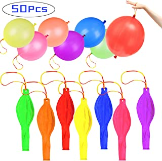 Punch Balloons, 50PCS 18'' Punch Balls with Rubber Band Handles, Assorted Color Eco Friendly Latex Punching Balloons for Gifts, Party,Children's Games, Weddings