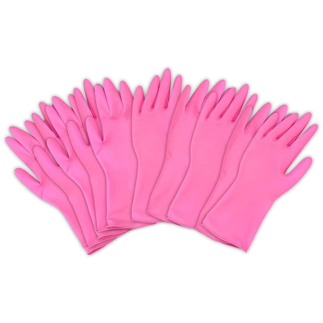 消費シネウィ放棄左右兼用薄型家庭用ゴム手袋 ピンク 繰り返し利用 作業 キッチン 掃除 炊事 食器洗い 園芸 10枚入