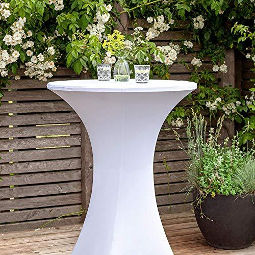 Namvo Stretch Cover für Bistrotische - Stretchy Table Cover mit Einer Gr??e von ca. 70 x 110 cm - Für Feiern und Veranstaltungen im Freien (wei?)