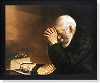 Art Prints Inc Daily Bread Man Praying at Dinner Table Grace Religious Wall Picture (16x20, Lustrous Black Frame)