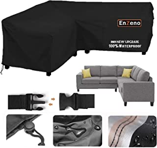 Enzeno Garden V-Shape Furniture Cover Waterproof, 420D Heavy Duty Oxford Fabric Outdoor Rattan Corner Sofa Cover with Wate...