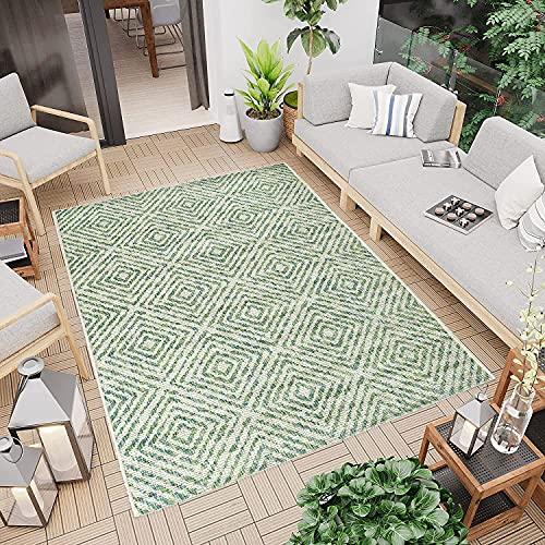 Outdoor Teppich Grün 160x230 cm - Aussenbereich Garten Balkon Wasserfest - Rauten-Optik Modern - Wetterfeste Balkonteppiche Terrassenteppiche - Indoor Wohnzimmerteppich Küchenläufer Badteppich