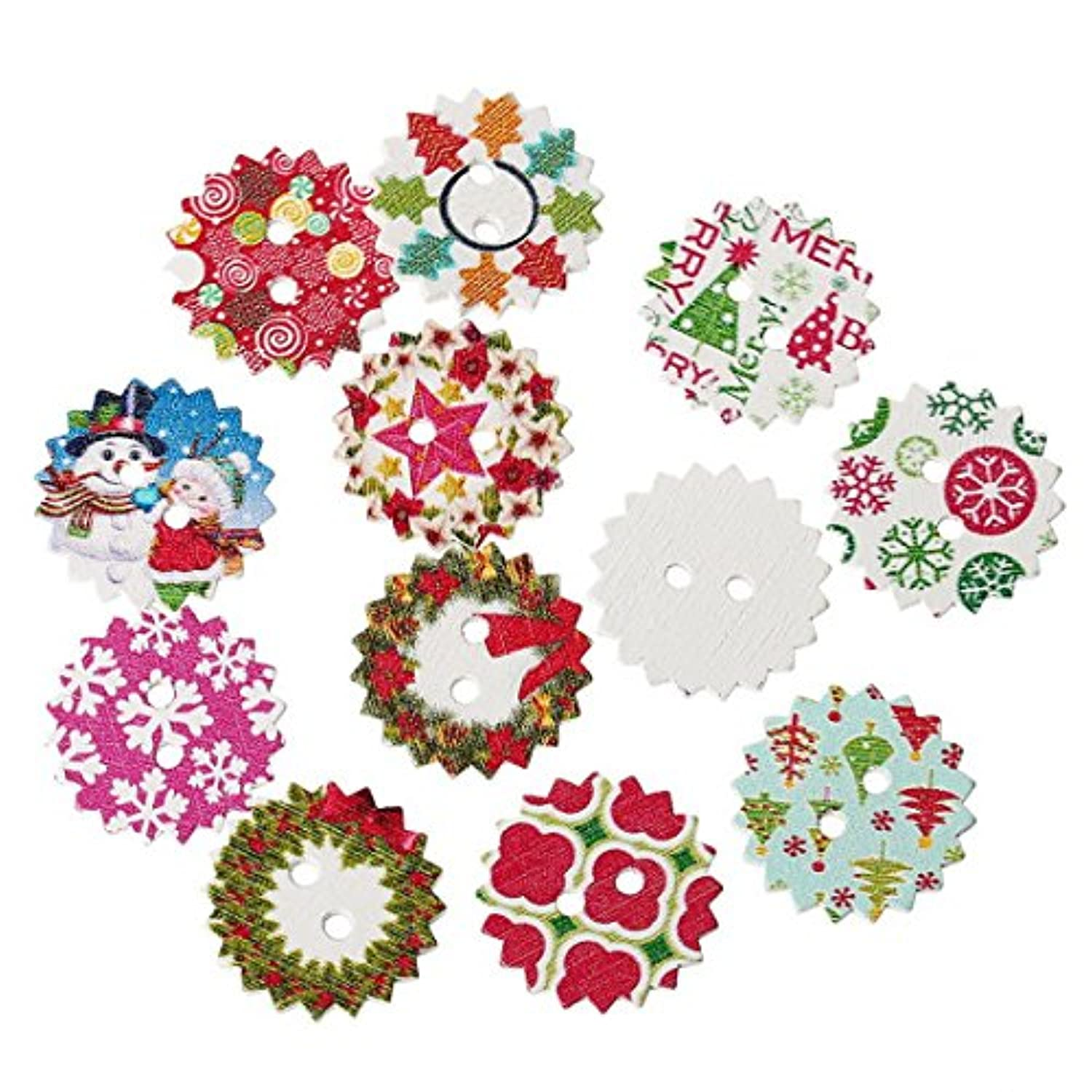 Souarts 24mm Pack of 100pcs Random Mixed Christmas Pattern Printed Round 2 Holes Wood Wooden Buttons