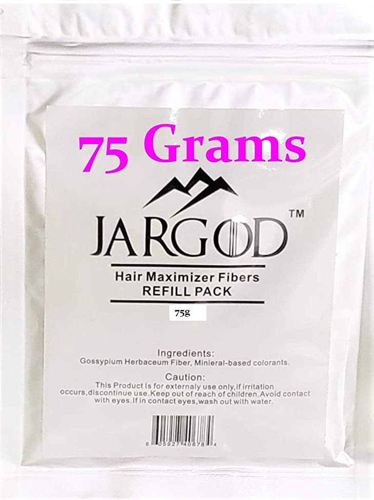 75 Gram Black JARGOD Hair Building Fibers 50g + 25g = 75g - Refill Your Existing Fiber Bottle - Hair Filler Fibers - Hair Loss Concealer For Thinning Hair