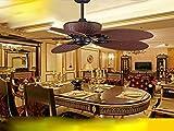 Originalidad de estilo europeo del Sudeste Asiático Vintage ventilador de techo, lámpara de control remoto, ventilador eléctrico, comedor, salón, madera maciza, ventilador de techo lámpara americana