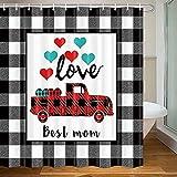 Buffalo Karo Karo Muttertag Duschvorhang Truck of Love Herzen Dekor Bauernhaus Badezimmer Gardinen mit 12 Haken Set, 180 x 180 cm
