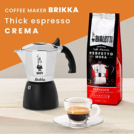Bialetti - New Brikka, Moka Pot, the Only Stovetop Coffee Maker Capable of Producing a Crema-Rich Espresso, 2 Cups (3.38 Oz), Aluminum and Black