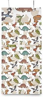 XIXIKO - Sac de rangement mural à suspendre avec 3 poches - Motif dinosaure - Pour vêtements, articles divers, école, cham...