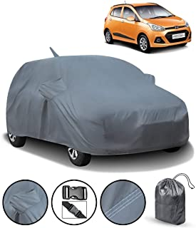 SPAIKO Car Body Cover for Hyundai Grand I10 with Mirror & Antenna Pockets & Storage Bag (Heavy Duty, Full Sized, Triple Stitched)