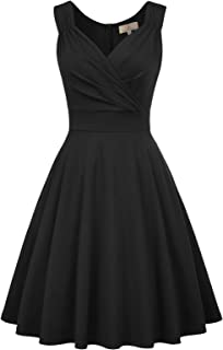 Women's 50s 60s Vintage Sleeveless V-Neck Cocktail Swing Dress