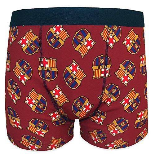 FC Barcelona - Herren Boxershorts mit Vereinswappen - Offizielles Merchandise - Geschenk für Fußballfans - 1 Paar - Rot - L
