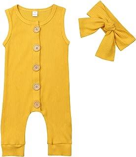 Newborn Baby Girls Boys Kid Solid Colour Bodysuit Sleeveless Romper Jumpsuit + Headband 2PCS Clothes Sets