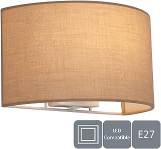HARPER LIVING Lámpara de Pared con Interruptor, 1 x E27/ES, Pantalla de semicírculo, Color, Adecuado para ampliaciones LED, Ideal para Dormitorio, salón, Pasillo, Hotel, B&B, marrón topo