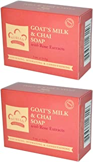 Nubian Heritage Goat's Milk & Chai Bar Soap, With Shea Butter, Goat's Milk, Rose Petals, Rose Extract, & Chai Leaf Extract, 5 oz (Pack of 2)