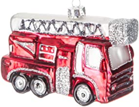 Robert Stanley Fire Engine Truck with Ladder Glass Ornament for Christmas Tree, Gifts for Firefighters First Responders