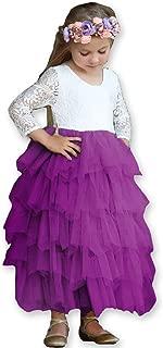 Girls Lace Dresses V-Back Backless Tutu Tulle Long Sleeve Dress for Kids 1-10Y