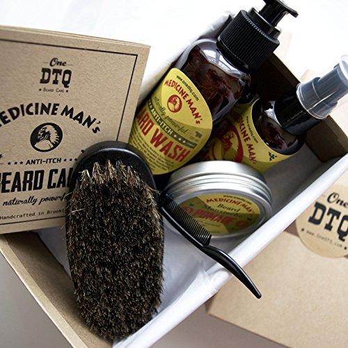 Medicine Man's Anti-Itch Beard & Mustache Kit - Beard Itch Wash, Oil, Balm, Brush - Beard Treatment Products in Premium Gift Box