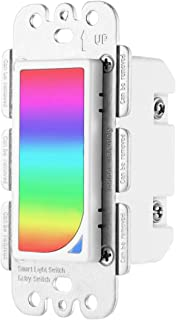 2in1 Smart Light Switch Compitable With Echo Alexa/Google Home, Wall Mount WiFi Smart Switch & Built-in 1200 Colors RGB Night Light with Timer,Remote Control,Countdown Function- Neutral Wire Required