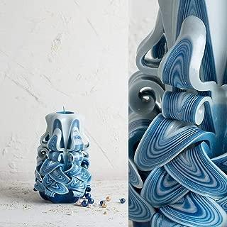 Hand Carved Candle 1 Wick - Blue and White Decorative Handmade Yahrzeit Shabbat - EveCandles