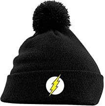 The Flash Beanie Hat Classic Logo Official Dc Comics Black Bobble