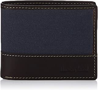 Timberland Men's Baseline Leather Canvas Wallet with Attached Flip Pocket