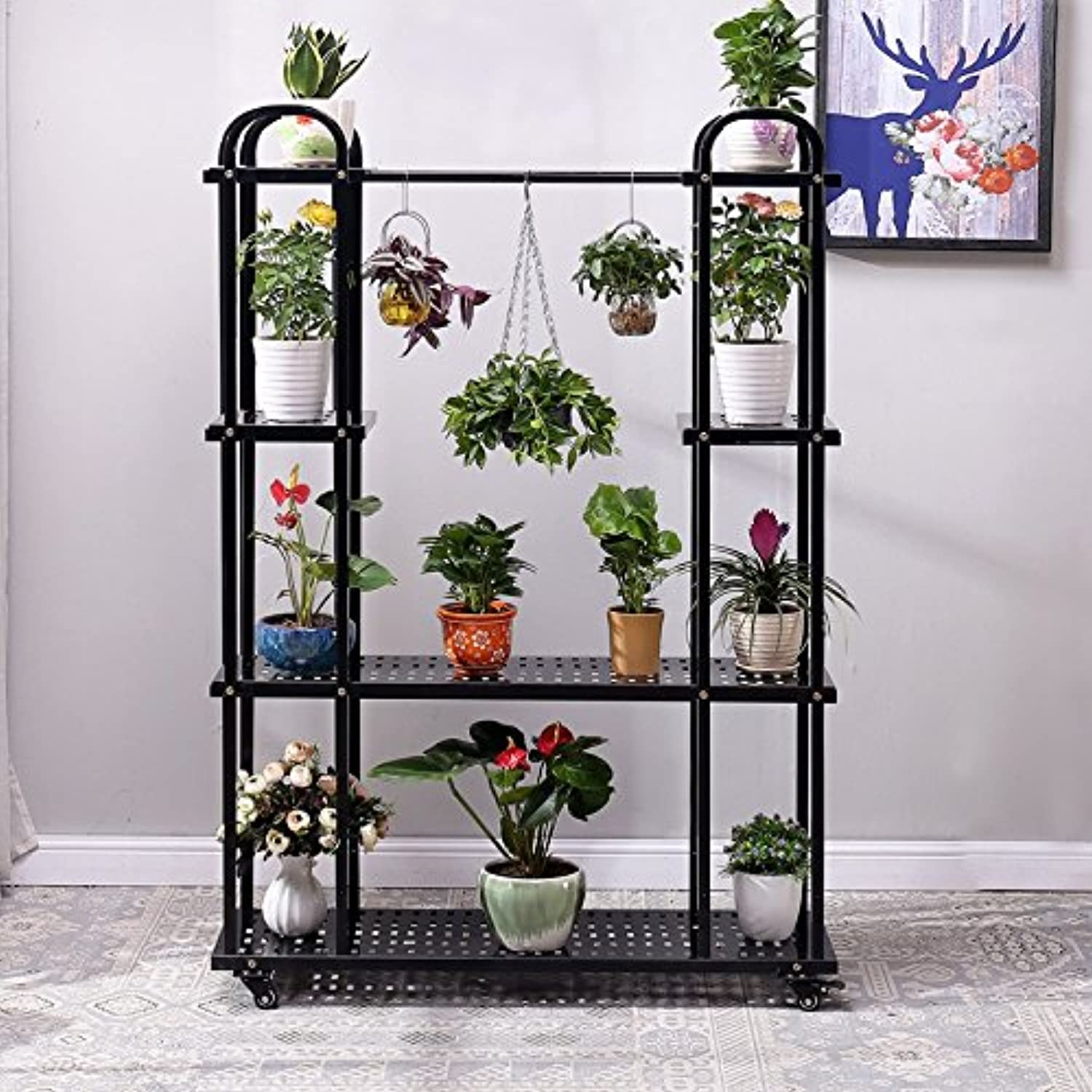 Flower Stand Rack, Multi-Storey Floor-Style Indoor and Outdoor Balcony Flower Pot Rack Simple Plant Dispaly Shelf (color   Black)