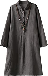 Minibee Women's Linen Retro Frog Button Blouse Loose Tunic Dress with Pockets