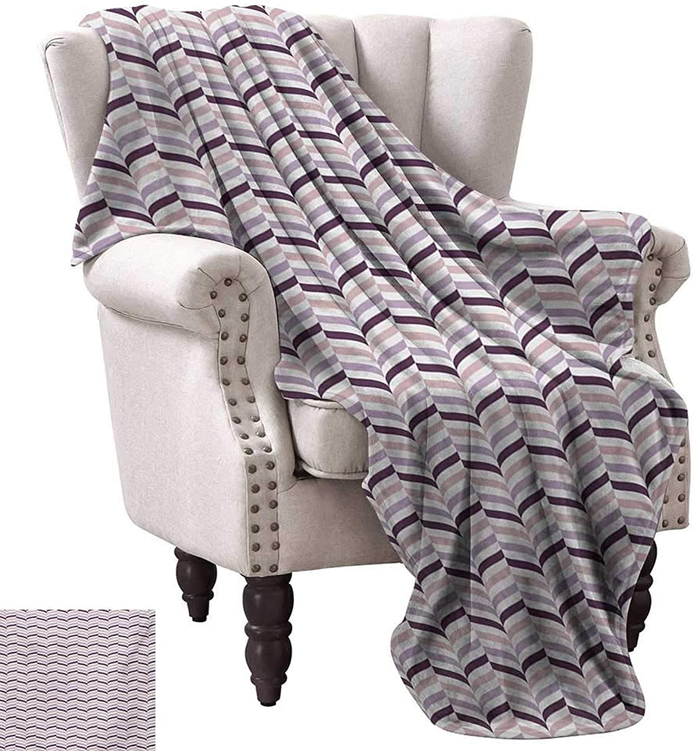 WinfreyDecor Eggplant Reversible Blanket Sea Whale Fish Tail Inspired Design with Leaf Like Details Art Anti-Static Throw 50  Wx60 L Pale Pink Purple and purplec