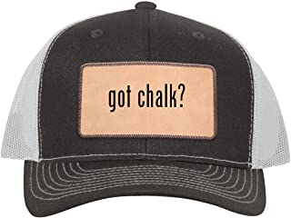One Legging it Around got Chalk? - Leather Light Brown Patch Engraved Trucker Hat