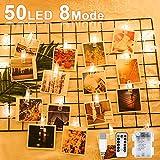 Nasharia LED Fotoclips Lichterkette Warmweiß, 6 Meter/Lichterketten-8 Modi 50 Led...