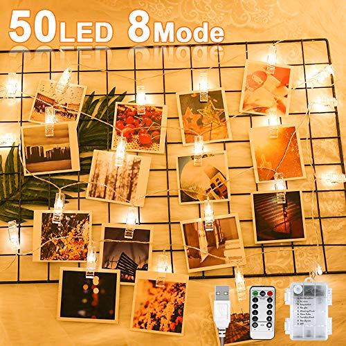 Nasharia LED Fotoclips Lichterkette Warmweiß, 6 Meter/Lichterketten-8 Modi 50 Led USB/Batteriebetrieben led Lichterkette mehrweg für Hängendes Foto Dekoration für Wohnzimmer, Weihnachten, Party