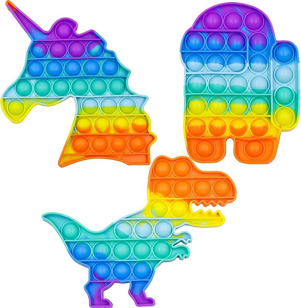 Pop Its Fidget Toy Set Gifts - Rainbow In stock P Unicorn and Us Dinosaur Among