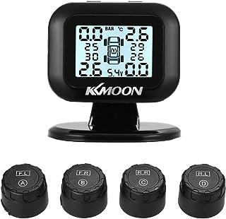 KKmoon TPMS Sistema de monitoramento de pressão de pneu de reposição, visor LCD universal sem fio em tempo real, com 4 sen...