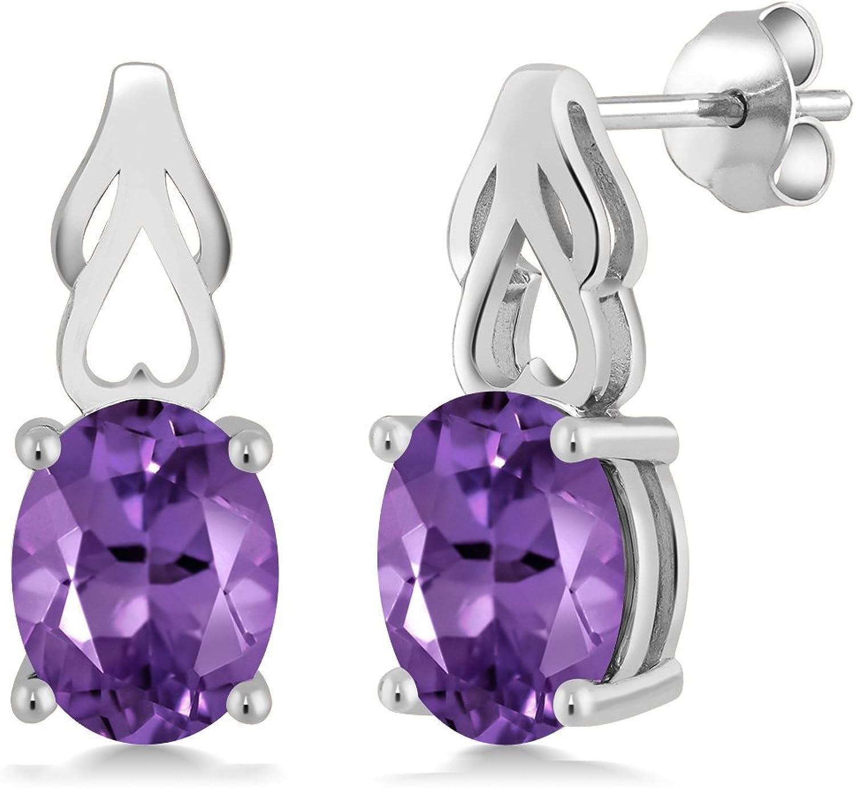 3.32 Ct Oval Purple Amethyst 925 Sterling Silver Earrings