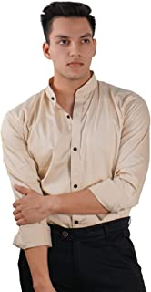 The Modern Darzi Men's Slim Fit Band Collar Cotton Full Sleeves Shirt (S-XXL) (Gold)
