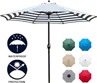 Sunnyglade 9` Patio Umbrella Outdoor Table Umbrella with 8 Sturdy Ribs (Blue and White)