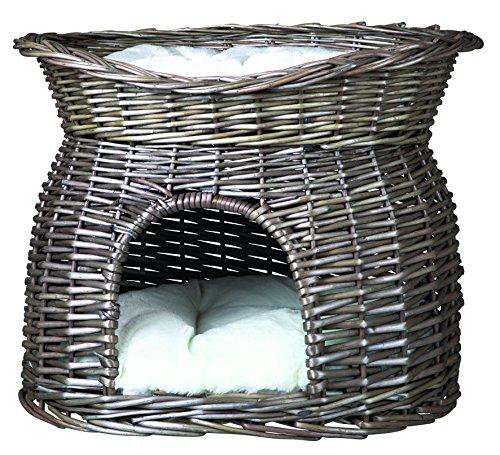 Trixie 2873 Weidenkorb mit Liegedach und 2 Kissen, 54 × 43 × 37 cm, grau