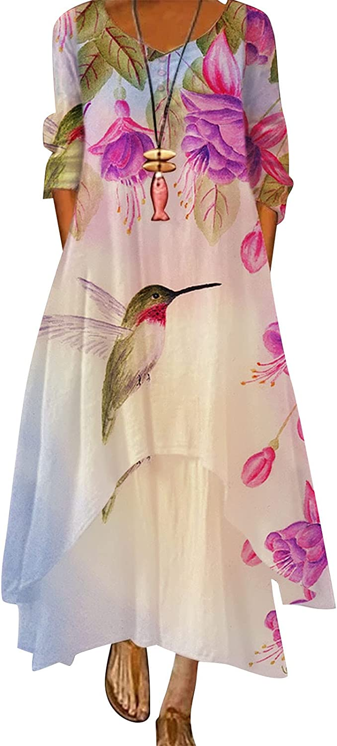 GCETTIC Dresses for Womens, Casual Womens Butterfly Print Maxi Dress Loose Long Sleeve Plus Size Bohemian Long Dress