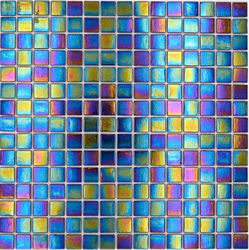 Mosaico de nácar y cristal brillante, color negro iridio