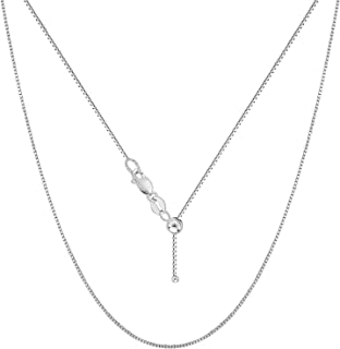 Verona Jewelers Sterling Silver Adjustable Box Chain Bolo Necklace| Sterling Silver Box Chain| 925 Sterling Silver Pendant Necklace | Adjust UP to 24 INCHES