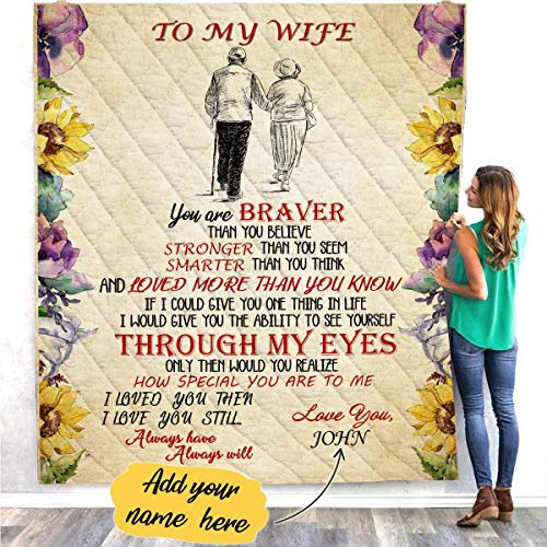 VTH Global Personalized Custom Husband Name to My Wife Grow Old Together Quilt Blankets Customized Christmas Birthday Wedding Anniversary Engagement Custom Fiancee Gifts